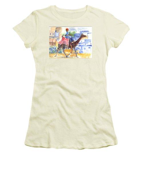 Women's T-Shirt (Junior Cut) featuring the painting Camel Driver by Carol Wisniewski