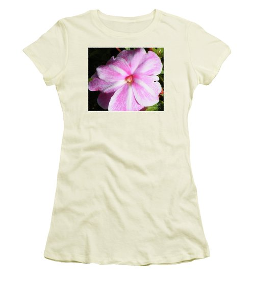 Women's T-Shirt (Junior Cut) featuring the photograph Candy Cane Impatiens by Barbara Griffin