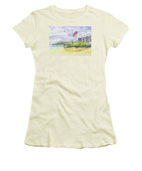Massachusetts -cape Cod Cottages Women's T-Shirt (Junior Cut) by Christine Lathrop
