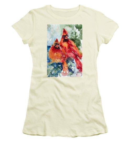 Cardinal Birds Women's T-Shirt (Athletic Fit)
