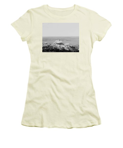 Casino At The Top Of Mt Beacon In Black And White Women's T-Shirt (Athletic Fit)