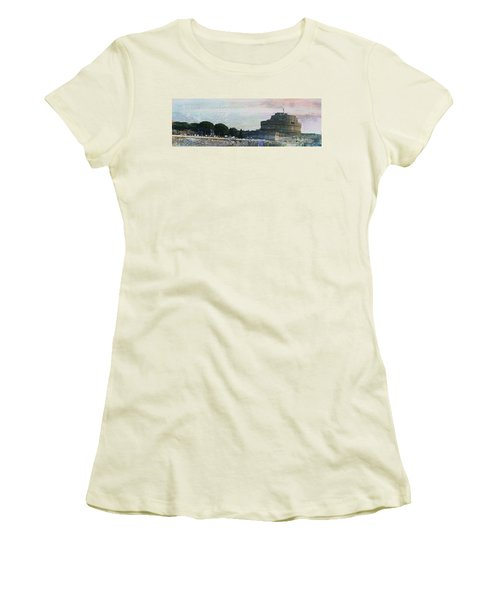 Women's T-Shirt (Junior Cut) featuring the painting Castel Sant'angelo     by Brian Reaves