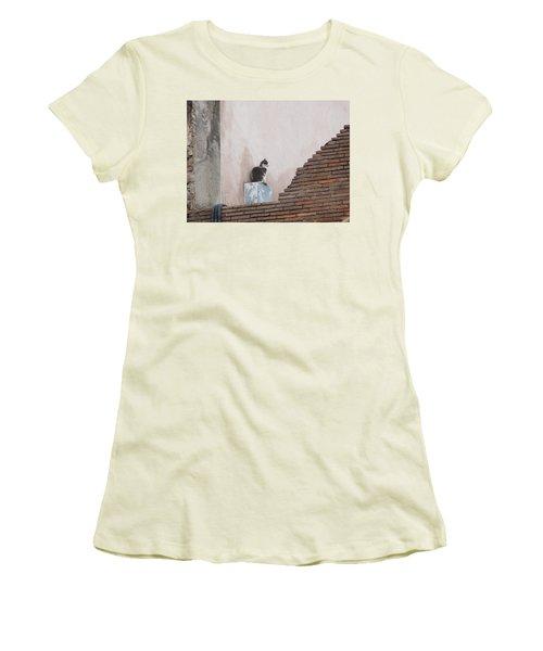 Women's T-Shirt (Junior Cut) featuring the photograph Cat Above The Roman Ruins by Tiffany Erdman