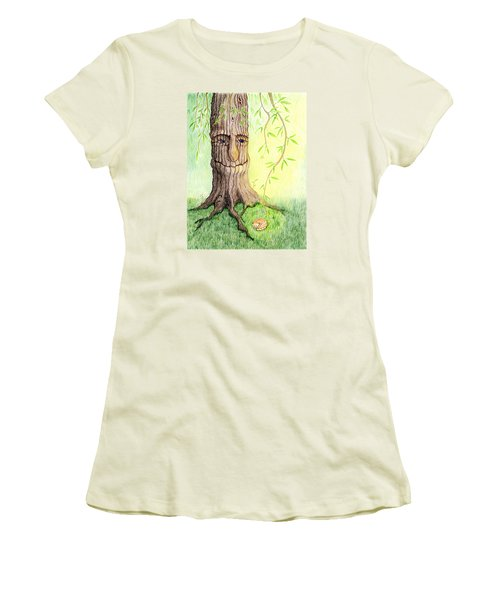 Women's T-Shirt (Junior Cut) featuring the drawing Cat And Great Mother Tree by Keiko Katsuta