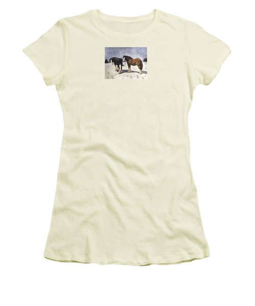 Women's T-Shirt (Junior Cut) featuring the painting Chance Of Flurries by Angela Davies