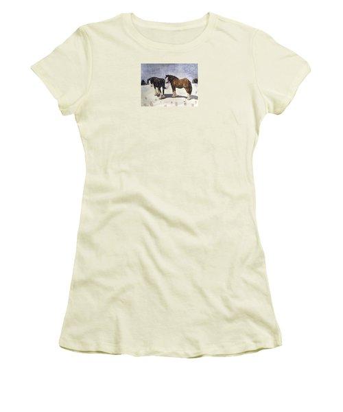 Chance Of Flurries Women's T-Shirt (Junior Cut) by Angela Davies