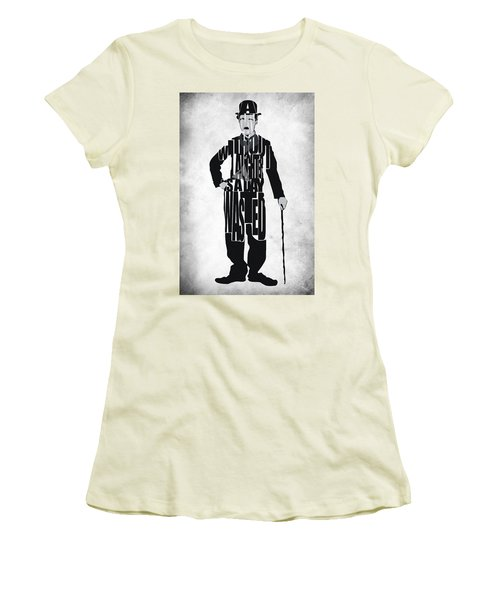 Charlie Chaplin Typography Poster Women's T-Shirt (Junior Cut) by Ayse Deniz