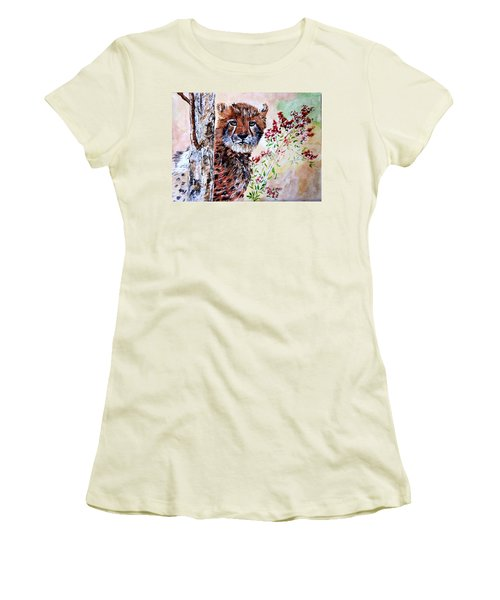 Cheetah Behind A Tree Women's T-Shirt (Athletic Fit)