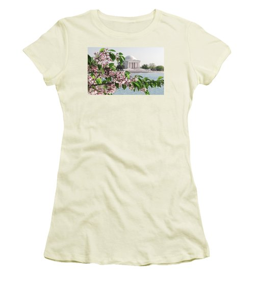 Women's T-Shirt (Junior Cut) featuring the photograph Cherry Blossoms And The Jefferson Memorial 2 by Mitchell R Grosky