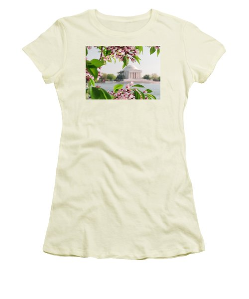 Women's T-Shirt (Junior Cut) featuring the photograph Cherry Blossoms And The Jefferson Memorial by Mitchell R Grosky