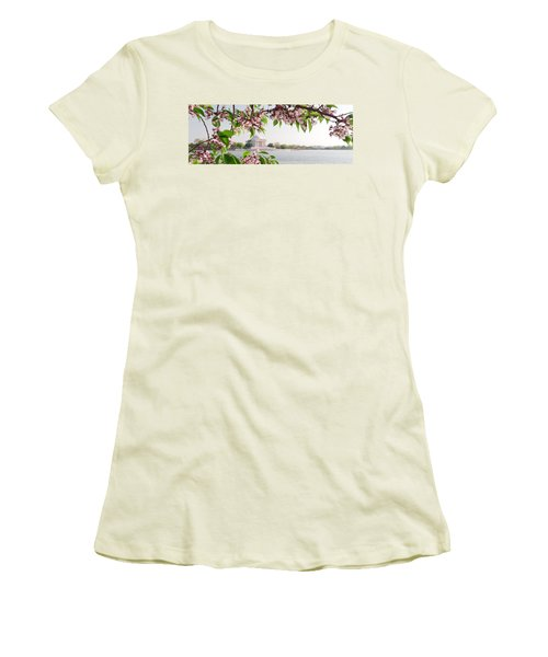 Women's T-Shirt (Junior Cut) featuring the photograph Cherry Blossoms And The Jefferson Memorial Panorama by Mitchell R Grosky