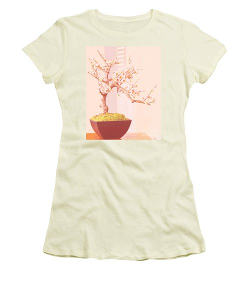 Cherry Bonsai Tree Women's T-Shirt (Junior Cut) by Marian Cates