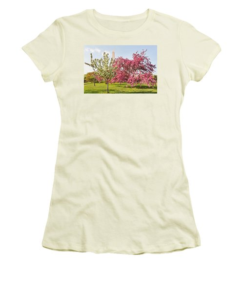 Women's T-Shirt (Junior Cut) featuring the photograph Cherry Trees And Washington Monument Three by Mitchell R Grosky