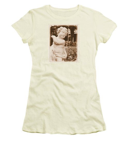 Women's T-Shirt (Junior Cut) featuring the photograph Cherub In The Garden by Nadalyn Larsen
