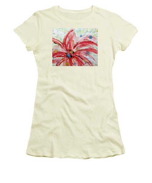 Women's T-Shirt (Junior Cut) featuring the painting Chinese Red Flower by Joan Reese