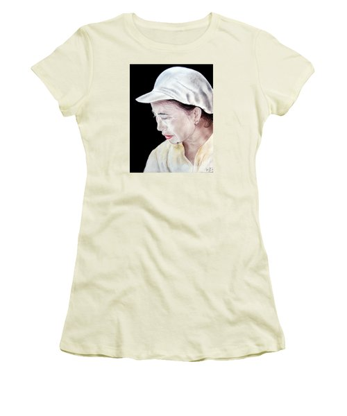 Women's T-Shirt (Junior Cut) featuring the drawing Chinese Woman With A Facial Mole by Jim Fitzpatrick