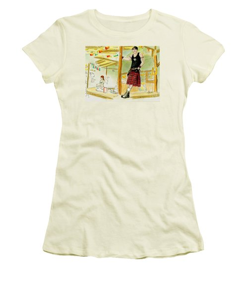 Women's T-Shirt (Junior Cut) featuring the painting Chris At The Broken Spoke Saloon by Albert Puskaric