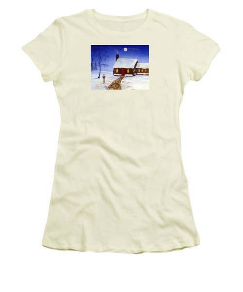 Women's T-Shirt (Junior Cut) featuring the painting Christmas Eve by Lee Piper
