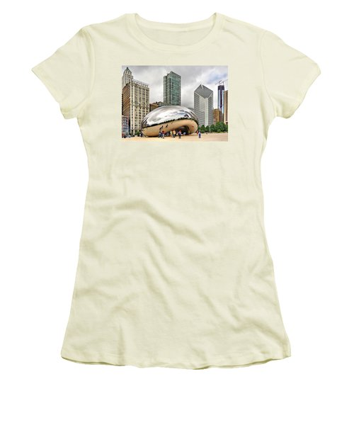 Women's T-Shirt (Junior Cut) featuring the photograph Cloud Gate In Chicago by Mitchell R Grosky