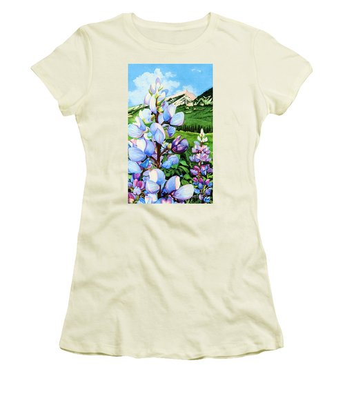 Women's T-Shirt (Junior Cut) featuring the painting Colorado Summer Blues Close-up by Barbara Jewell