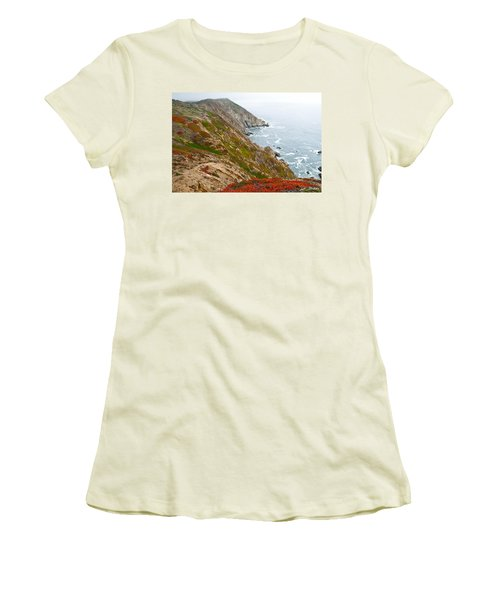 Colorful Cliffs At Point Reyes Women's T-Shirt (Junior Cut) by Jeff Goulden