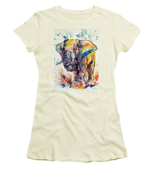 Colorful Elephant Women's T-Shirt (Junior Cut) by Kovacs Anna Brigitta
