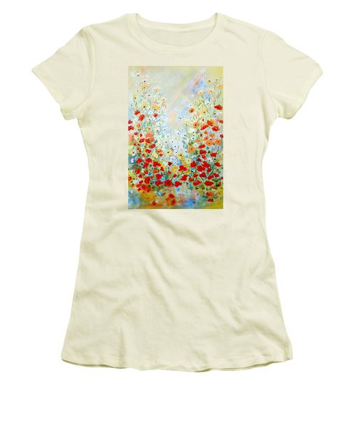 Colorful Field Of Poppies Women's T-Shirt (Junior Cut) by Dorothy Maier