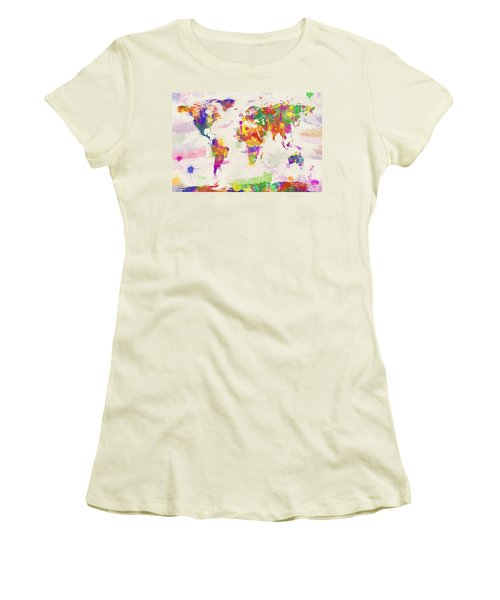 Colorful Watercolor World Map Women's T-Shirt (Junior Cut) by Zaira Dzhaubaeva