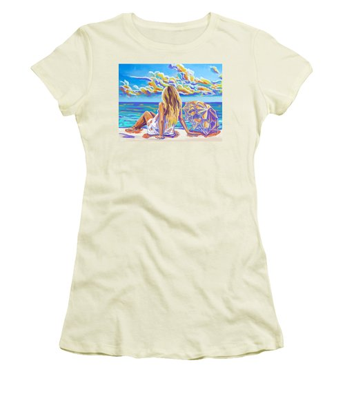 Colorful Woman At The Beach Women's T-Shirt (Athletic Fit)