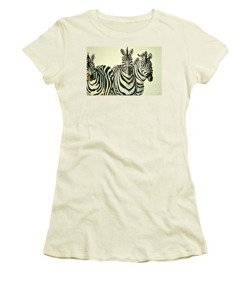 Women's T-Shirt (Junior Cut) featuring the painting Colorful Zebras Painting by Maja Sokolowska