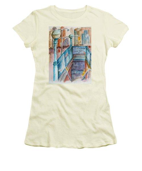 Columbus Circle Subway Stop Women's T-Shirt (Athletic Fit)