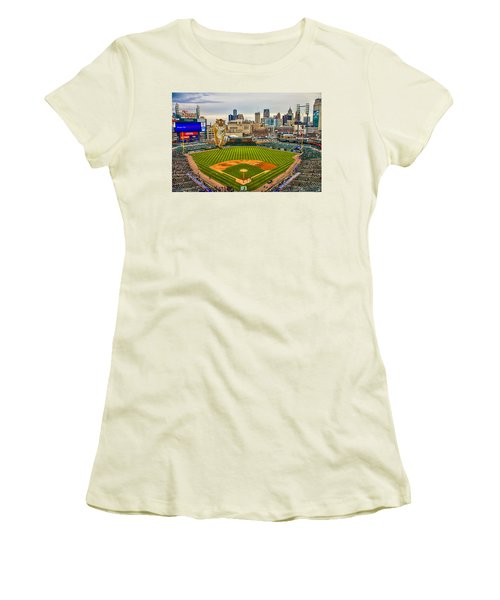 Women's T-Shirt (Junior Cut) featuring the photograph Comerica Park Detroit Mi With The Tigers by Nicholas  Grunas