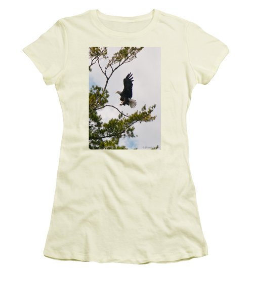 Women's T-Shirt (Junior Cut) featuring the photograph Coming In For A Landing by Brenda Jacobs