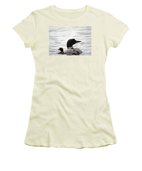 Common Loon And Baby Women's T-Shirt (Junior Cut) by Cheryl Baxter