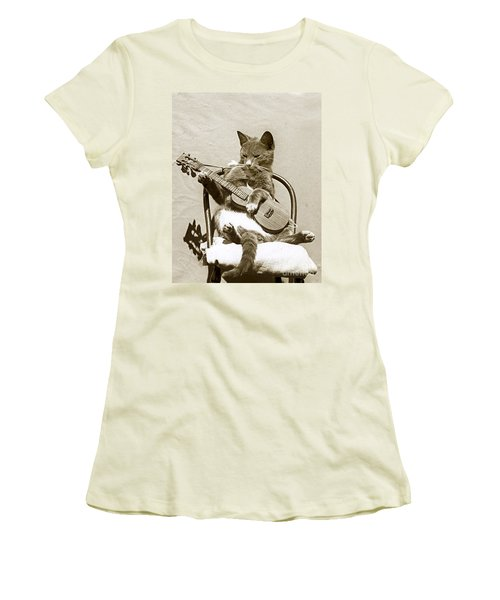 Women's T-Shirt (Junior Cut) featuring the photograph Cool Cat Playing A Guitar Circa 1900 Historical Photo By Photo  Henry King Nourse by California Views Mr Pat Hathaway Archives
