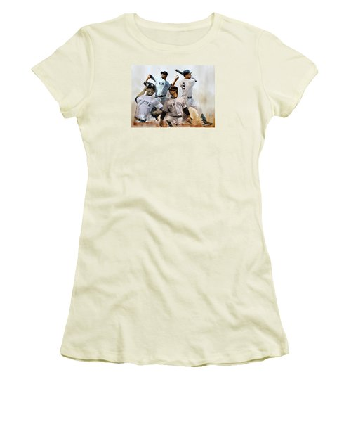 Core  Derek Jeter Mariano Rivera  Andy Pettitte Jorge Posada Women's T-Shirt (Junior Cut) by Iconic Images Art Gallery David Pucciarelli