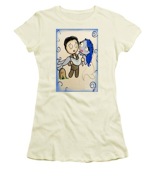 Women's T-Shirt (Junior Cut) featuring the painting Corpse Bride by Marisela Mungia