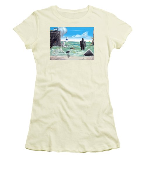 Women's T-Shirt (Junior Cut) featuring the painting Cosmic Broadcast -last Transmission- by Ryan Demaree