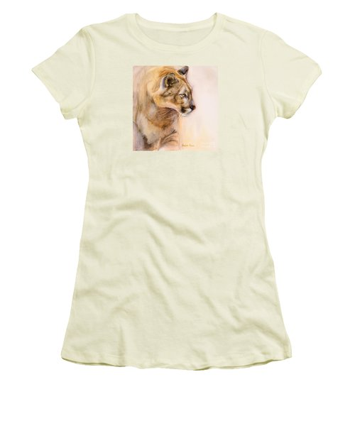 Women's T-Shirt (Junior Cut) featuring the painting Cougar On The Prowl by Bonnie Rinier