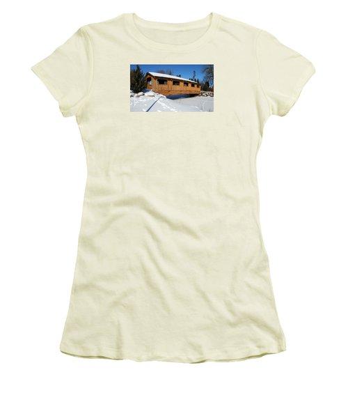 Covered Bridge Crossing The Stream Women's T-Shirt (Junior Cut) by Janice Adomeit