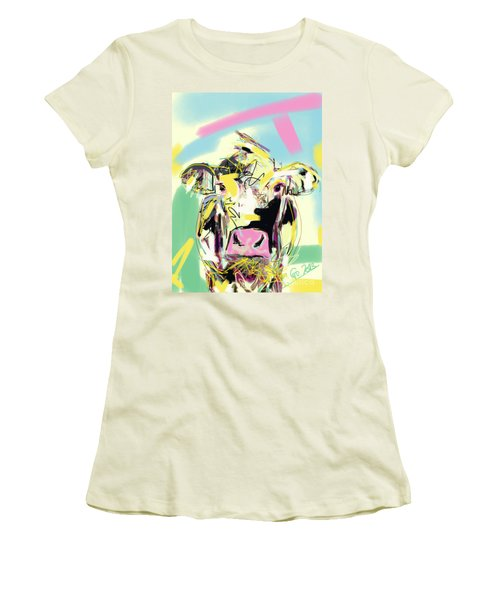 Cow- Happy Cow Women's T-Shirt (Athletic Fit)