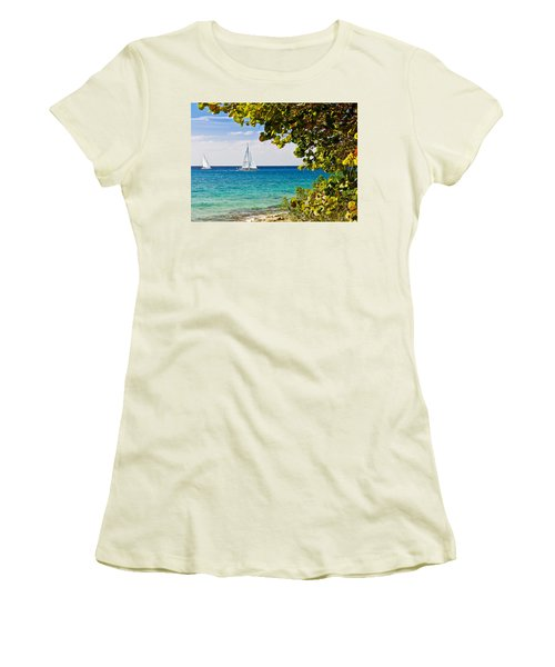 Women's T-Shirt (Junior Cut) featuring the photograph Cozumel Sailboats by Mitchell R Grosky