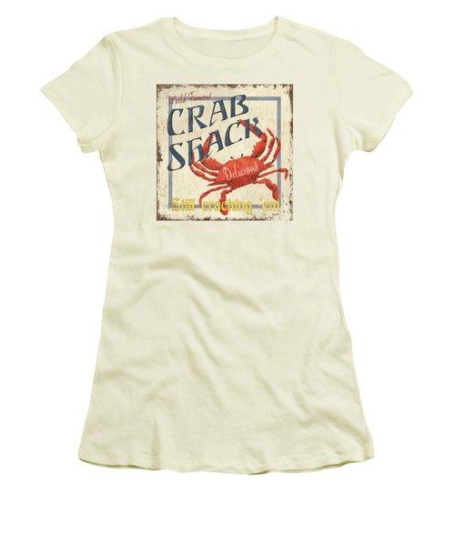 Crab Shack Women's T-Shirt (Junior Cut) by Debbie DeWitt