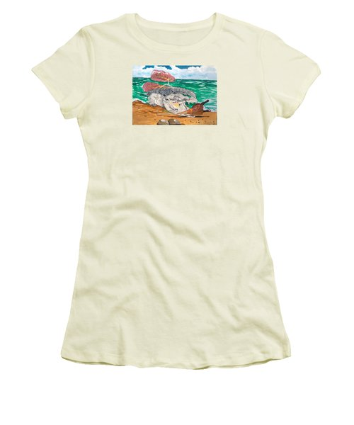 Women's T-Shirt (Junior Cut) featuring the painting Crocodile Emphysema by Lazaro Hurtado