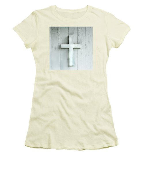 Cross On Holy Angels Sugar Island Michigan Women's T-Shirt (Athletic Fit)