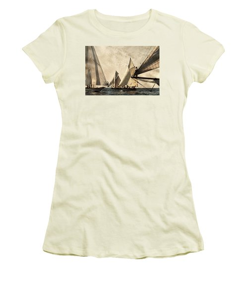 A Vintage Processed Image Of A Sail Race In Port Mahon Menorca - Crowded Sea Women's T-Shirt (Junior Cut) by Pedro Cardona