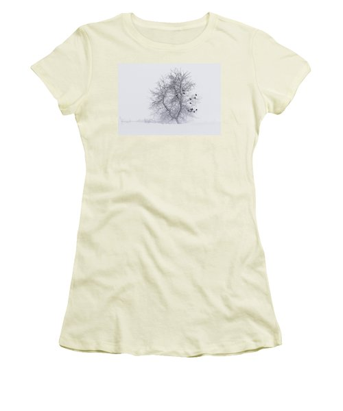 Crows On Tree In Winter Snow Storm Women's T-Shirt (Junior Cut) by Peter v Quenter