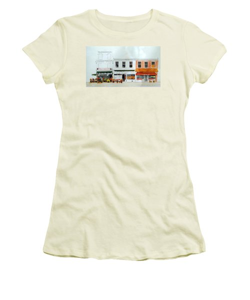 Women's T-Shirt (Junior Cut) featuring the painting Cutrona's Market On King St. by William Renzulli