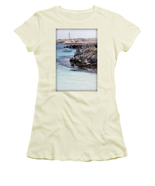 In Cala Pudent Menorca The Cutting Rocks In Contrast With Turquoise Sea Show Us An Awsome Place Women's T-Shirt (Junior Cut) by Pedro Cardona