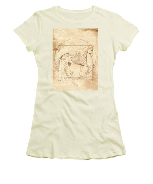 da Vinci Horse in Piaffe Women's T-Shirt (Junior Cut) by Catherine Twomey